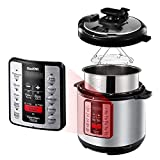 ICOOKPOT Pressure Cooker 6 QT 9-in-1 Multi-Use Programmable Steamer Pot Rice Cooker Yogurt Maker Pressure Bean Cooker Stainless Steel Slow Cooker with Cookbook, Black