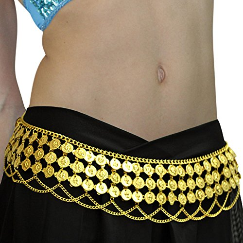 Gypsy Hippie Belly Dance Metal Dangling Coins Chains Belt Adjustable Gold, Large
