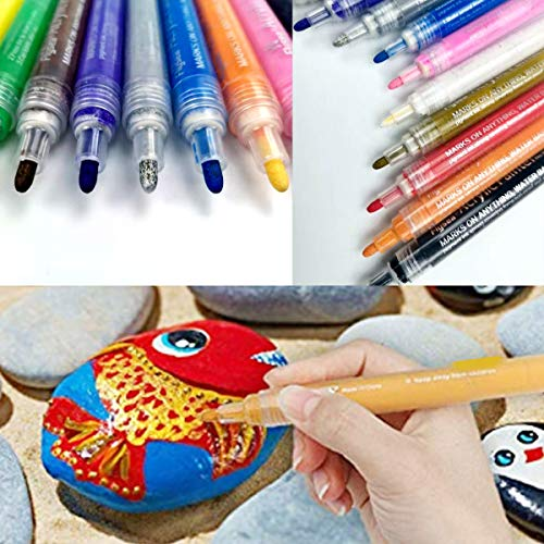 Paint Pens for Rock Painting Stone Ceramic Glass Wood Fabric Canvas Mugs Card 2 mm Fast Drying DIY Craft Making Supplies Scrapbooking Craft Acrylic Paint Marker Pens Set of 12 Colors Photo #3