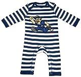 HARIZ Baby Strampler Streifen Polizist Handschellen Rennen Polizei Cops Plus Geschenkkarte Navy Blau/Washed Weiß 12-18 Monate
