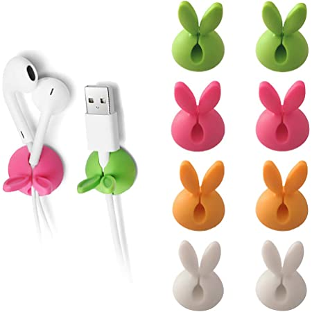 ELFRhino Cable Clips Cord Management with Holder System Desktop Cable Organizer Computer Electrical Charging or Mouse Cord Holder for Home Office Desk Accessories Set of 6