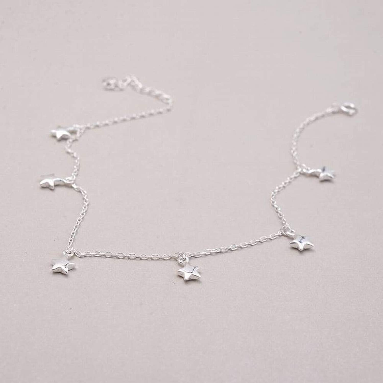 Zicue Stylish Charming Bracelet Exquisite Ornaments Women's Simple 925 Silver Star Plating Anklet FivePointed Star Anklet S925 Sterling Silver Anklet Multiple Stars Thin Feet ( color   925 silver )