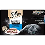 Sheba Terrines Classiques pour chat adulte – Nourriture humide pour chats - coffret océan avec 4 variétés aux poissons en barquette – 24 x 85g