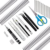 110 Pcs Exacto Knife Set Craft Knife Art Knife Stencil Making kit Including Screwdriver Tweezers Scissors Ruler Storage Box are Suitable for Creating DIY Art Works Engraving Craft Cutting