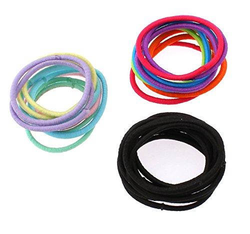 Banda elástica para el pelo, cordón de nailon, donut, colores mezclados, 30 mm, 3 juegos/bolsa, se vende por bolsa
