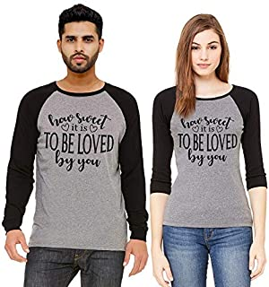 ADIMA Couple Cotton Black Color Raglan Tshirts