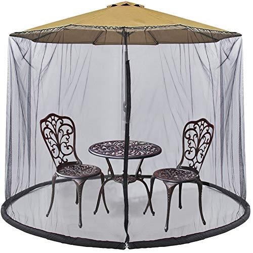UMARDOO 7.5-9ft Patio Umbrella Netting, Polyester Mesh Net Screen with Zipper Door and Adjustable Rope, Universal Canopy Umbrella Net Cantilever Offset Hanging Market Umbrellas