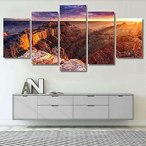 KJHKH 5 Piezas XXL Impresiones 5 Piezas Cuadros Decoracion Borde Norte del Gran Cañón Cabo Real Salon Modernos Arte de la Pared Decoración para el hogar Regalo Creativo