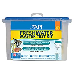 Contains one (1) API FRESHWATER MASTER TEST KIT 800-Test Freshwater Aquarium Water Master Test Kit, including 7 bottles of testing solutions, 1 color card and 4 glass tubes with cap Helps monitor water quality and prevent invisible water problems tha...