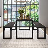 """Decok 3 Pieces XL Large Dining Table Set for 6 People,48 Inch Kitchen Table with Two 47"""" Benches,Particle Board Top and Metal Frame,Perfect for Breakfast Nook, Living Room,Industrial, Oak and Black"""