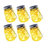 Joomer Solar Mason Jar Hanging Lights, 6 Pack 30 LED Solar Lanterns Table Lights, Waterproof Fairy Lights Outdoor Solar Hanging Lights for Patio, Garden, Yard, Lawn (Jars/Hangers Included)