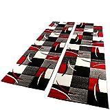 Set De 3 Alfombras para Dormitorio - A Cuadros - Rojo Gris Negro Blanco, tamaño:2X 80x150 1x 80x300