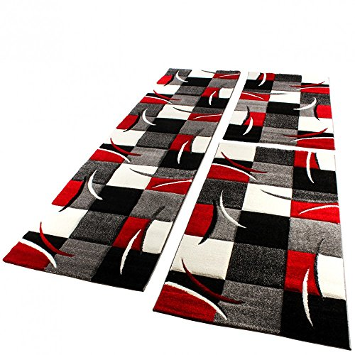 Paco Home Bettumrandung Läufer Teppich Modern Karo Rot Grau Schwarz Weiss Läuferset 3 TLG, Grösse:2mal 80x150 1mal 80x300