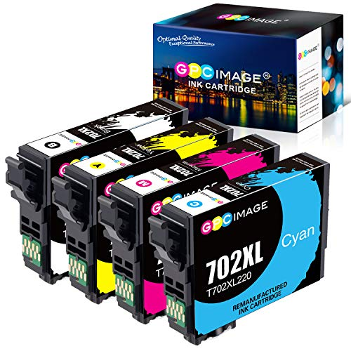 GPC Image Remanufactured Ink Cartridge Replacement for Epson 702 702XL 702 XL T702XL to use with Workforce Pro WF-3720 WF-3730 WF-3733 Inkjet Printer (Black, Cyan, Magenta, Yellow)