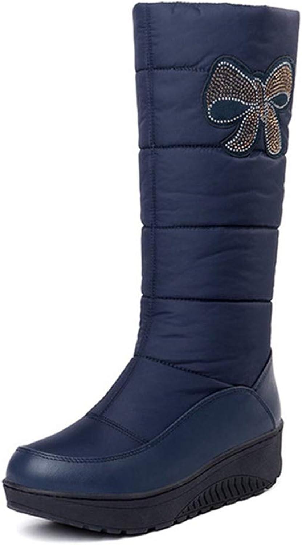 GIY Women's Waterproof Winter Mid Calf Rain Snow Boots Warm Fur Fashion Wide Calf Cold Arctic Snow Boots