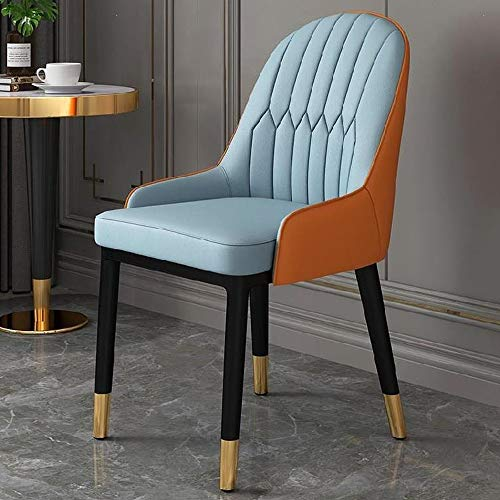 TITO Rückenlehne Stuhl Faul Computer-Italienisch Tragbarer Stuhl Netz rot Esstisch und Stuhl Einfacher Haushalt einzelner kleine Wohnung Stuhl modernen (Light Blue + orange)