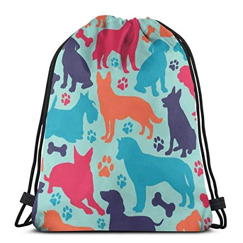 BXBX Bags Seamless Pattern Different Dog Breeds Shoulder Backpack Drawstring Backpack Nylon Folding Bag for School Home Travel Sport