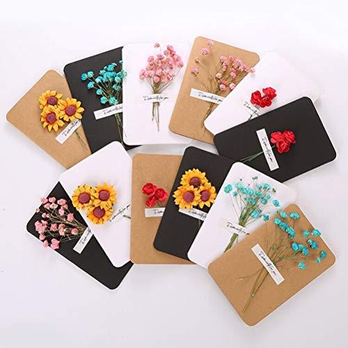 Tarjeta de Felicitación Retro,12 Pack Flores Secas Tarjetas de Agradecimiento en Papel Kraft Cards Estilo Vintage...