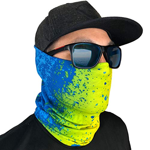 GOT Sports Fishing Face Mask Gaiter - Breathable Sun Mask, Camo Neck Gaiter, Scarf, Dust Mask, Balaclava, Bandana - Multifunctional, Breathable, Sun Protection (Mahi Mahi)