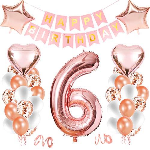 Luftballon 6. geburtstag,Happy Birthday Dekoration Zahl,kunterbunte Luftballons Metallic,Kunterbunte Luftballons,Nummerndekoration,Riesen Folienballon,Happy Birthday Dekoration
