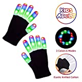 Aubllo Led Gloves Light Up Rave Glow Gloves 3 Colors 6 Modes Flashing Halloween Costume Birthday EDM Party Christ-mas Light Up Toys For Kids Size 7'' Age for 4 5 6 7 8 9 10 Boys Girls