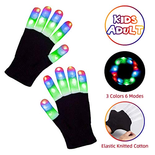 Aubllo Led Gloves Light Up Rave Glow Gloves 3 Colors 6 Modes Flashing Halloween Costume Birthday EDM Party Christ-mas Light Up Toys For Kids Size 7