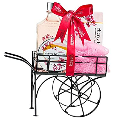 Deluxe Cherry Blossom Bath Body & Spa Set for Women in an Elegant Reusable Wheelbarrow: Shower Gel, Bath Salts, Body Cream Lotion and Bath Puff with Shea Butter & Vitamin E Relaxation Spa Gift Basket