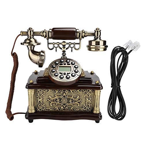 Plyisty Teléfono Medieval Vintage, teléfono Real Vintage, teléfono de Madera de Estilo clásico, teléfono Fijo Antiguo con Cable para Oficina en casa