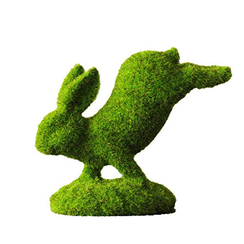 Janly Clearance Sale 1PC Flocked Rabbit Easter Decor Resin Garden Bunny Statue Easter Garden Ornament , Home Decor forHome & Garden , Easter St Patrick's Day Deal (Green)