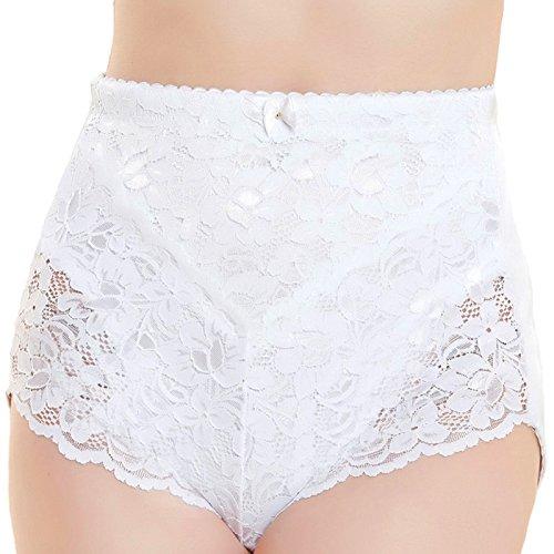 Fashion Fateek Bragas de control medio para mujer, instantáneas delgadas, delgadas, abdominoplastia y levantamiento de pesas, Blanco Lace, M