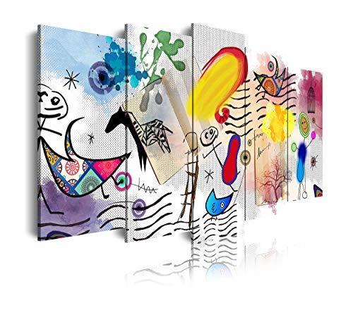 DekoArte 499 - Cuadros Modernos Impresión de Imagen Artística Digitalizada | Lienzo Decorativo para Tu Salón o Dormitorio | Estilo Dibujos Abstractos Arte Moderno Surrealismo Miró | 5 Piezas 150x80cm