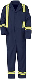 Sky Blue Bulwark Flame Resistant PVC Coated Chemical Splash Disposable Hooded Coverall Large