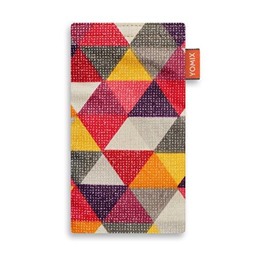 YOMIX Handytasche Finn für HTC One Mini 2 aus beschichteter Baumwolle mit genialer Display-Reinigungsfunktion durch Microfaserinnenfutter
