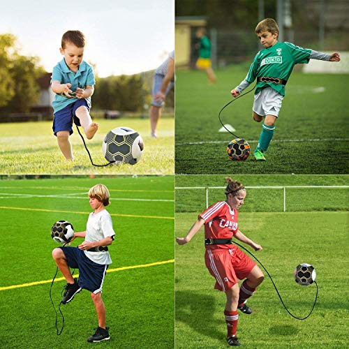 U&X 2 Pack Football Kick Trainer, Soccer Training Aid for Kids and Adults Hands Free Solo Practice Training With Belt Elastic Rope Football Skills Improvement Practice Fit for Size 3 4 5 Footballs