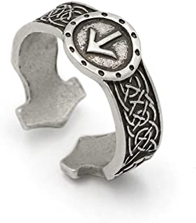 TTKP Norse Viking Rune Rings Adjustable Rings For Men Amulet Runic Nordic Ring Punk Gothic Jewelry