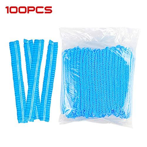 qinyongani 100pcs Casquettes Bouffantes jetables Non-tissés Cheveux filés Couverture de tête de Cheveux bornés, Bleu