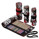 Estuche para lápices con diseño de calavera, útiles escolares, bolsa para bolígrafos de arte, estuche para bolígrafos de lona, rollo, bolígrafo de color, almacenamiento, papelería, estudiantes