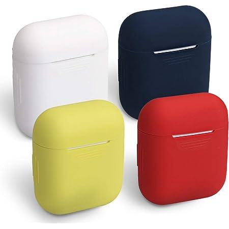 homEdge Funda AirPods 4 paquetes Funda protectora de silicona sin costuras con clip en forma de D Compatible con Apple AirPods 2 y 1 rojo LED frontal visible Blanco amarillo y azul medianoche