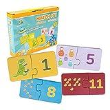 ambarscience- Match it Juego Rompecabezas Educativo de 40 Piezas para Aprender 1 a 20, con imágenes y números para niños 3+. (Ambar Passion S.A. 6162840090020)
