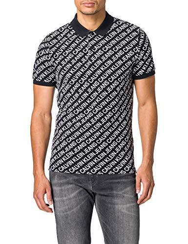 Calvin Klein Jeans Diagonal Logo AOP Polo Camisa, CK Negro, S para Hombre