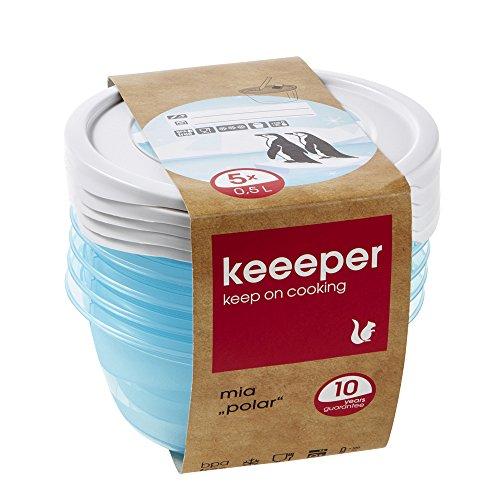keeeper Tiefkühldosenset 5-teilig, Wiederbeschreibbarer Deckel, 5 x 500 ml, Ø 14 x 6 cm, Mia Polar, Eisblau Transparent