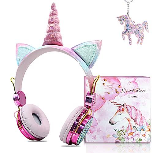 Cuffie Bluetooth per Bambina,Cuffie Unicorno 85dB Volume Limiting,Cuffie Wireless per Bambini con Microfono per iPad/iPhone/Android/Computer/TV (Cuffie Bluetooth)