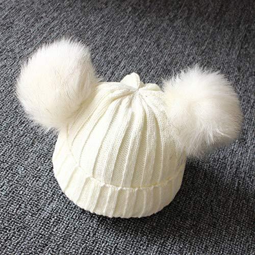 Recién Nacido Bebé Niños Niñas Niños Invierno Cálido Gorro de Punto Bolas peludas Pompón Sólido Cálido Lindo Gorro Encantador Regalos - Blanco