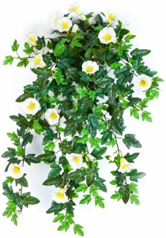 Artplants Set 3 x Künstlicher Petunien-Hnger, 320 Bltter, 28 Blüten, gelb-Weiss, 55 cm - naturgetreue KunstBlaumen künstliche Ranken