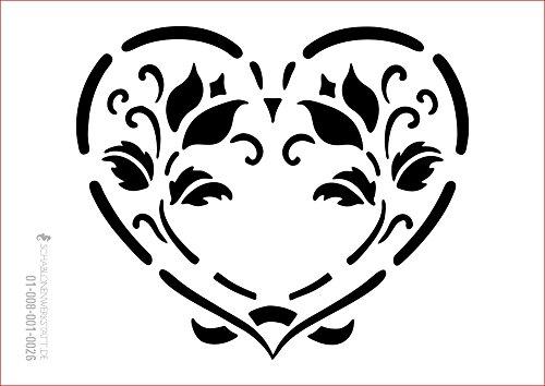 Schablone floral, 01-008-001-0026, Herz, Blumen, Tulpen als Fensterschablone, Dekoschablone, Schablonengröße A3