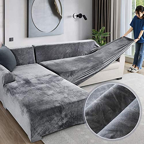 Love House Velvet pluszowy pokrowiec na sofę, rozciągliwy pokrowiec na sofę, miękki, gruby pokrowiec na sofę w kształcie litery L, 1 2 3 4 osobowy – szary Recliner
