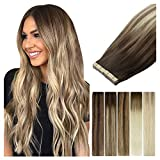 LeaLea Human Hair Balayage Tape In Extensions, Walnut Brown To Ash Brown & Bleach Blonde, 22 Inch 20pcs 50g 100% Remy Hair Invisible Seamless Real Hair Straight