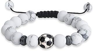 جيكا كرة القدم الخرز سحر سوار للرجال النساء 10 مم الأحجار الكريمة الطبيعية الرياضة والمجوهرات قابل للتعديل