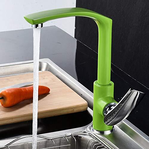 WYDM Grifo Mezclador para Fregadero de Cocina de diseño Elegante 360 & deg;Grifo de Cocina Giratorio, Grifo Mezclador de una Sola Palanca para Fregadero, latón Macizo, Esmalte al Horno, Superficie