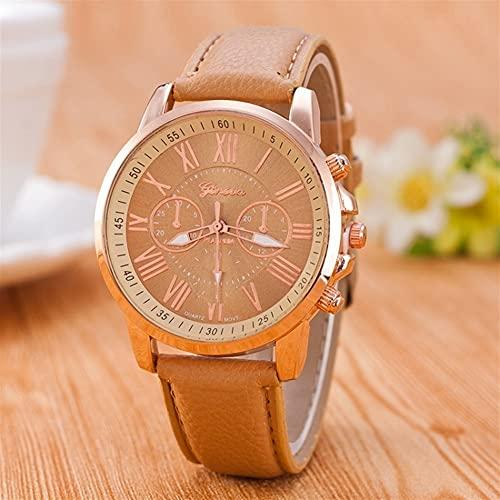 OWZSAN Mujeres Mujer DE Lujo Marca DE Lujo Reloj DE Reloj DE Reloj DE CUERCA DE Cuero Ladies RELAJES DE Ladies RELOGIO Feminino Reloj Digital (tamaño : Beige)